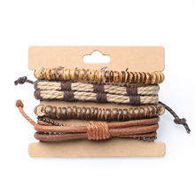 Jewelry retro set four pieces bracelet diy woven leather bracelet coconut shell bracelet men's hemp rope