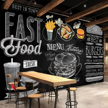 Custom Mural Wallpaper Blackboard Hand Painted Hamburger Fried Chicken Poster Delicious Fast Food Shop Restaurant Wall Painting цена 2017