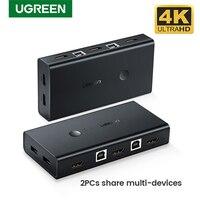 UGREEN-conmutador KVM HDMI, caja divisora para compartir teclado de impresora, ratón, KVM, HDMI, VGA, 4K, 2 puertos USB
