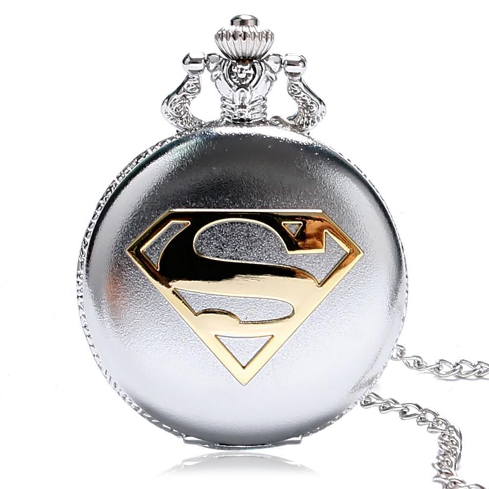 Sliver Color Case Gold Superman Logo Pocket Watch High Quality Fob Pendant Watches For Boys/Girls Reloj De Bolsillo
