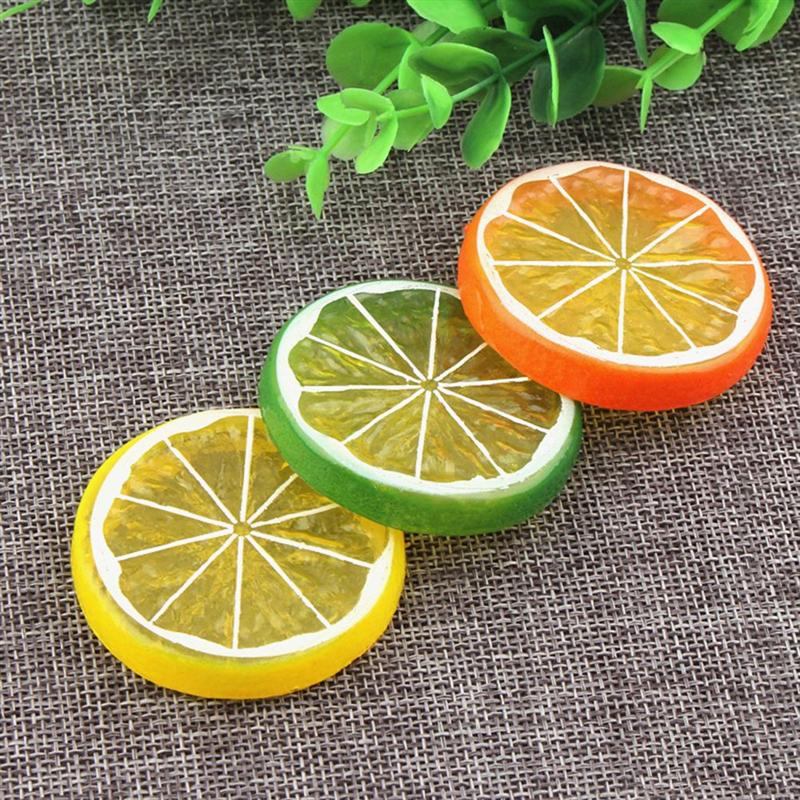 10pcs Simulation Lemon Slices Lifelike Photo Props Artificial Fruit DIY Ornaments Supplies For Home Shop(China)