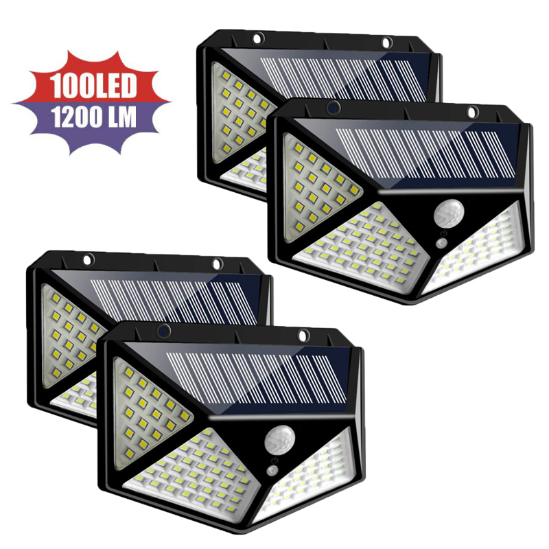 1/2/4 Pcs 100 LED Solar Power Light Outdoor Garden Light Motion Sensor Stairs Pathway Courtyard Solar Security LED Lighting Lamp