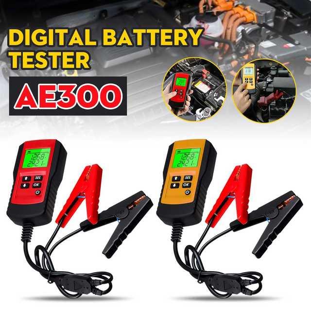 جهاز اختبار تحميل البطارية الرقمي ، شاشة LCD 12 فولت AE300 ، أداة تشخيص السيارة ، الدراجة النارية ، الدراجة النارية
