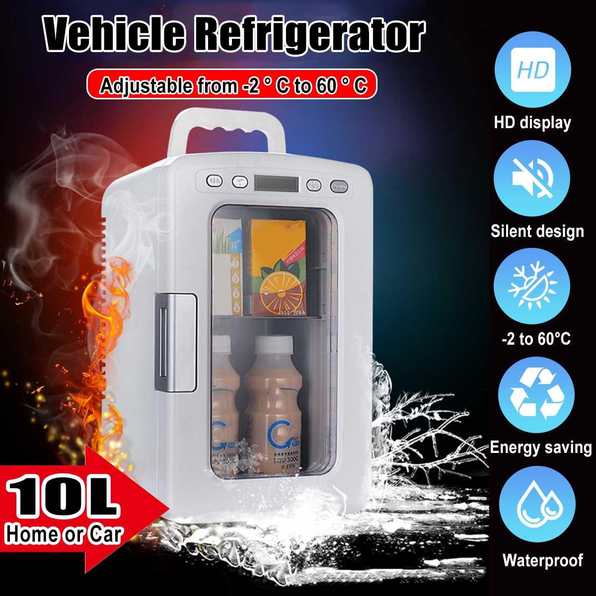 10L 12v 220v Mini Car Home Refrigerator Warmer  Freezer Cooler Portable Fridge Compressor Auto Refrigerator Temper Adjustable