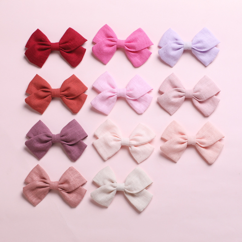 4 Pcs/lot , Baby Girls Sailor Bow Nylon Headbands Or Hair Clips, Cotton Linen Fabric Bow Clips Hairpins, Infant Hair Accessory