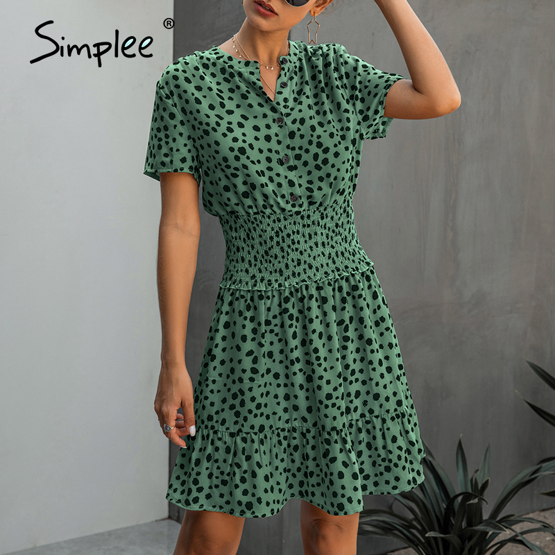 Simplee Women Polka Dot Ruffle Summer Dress Vintage V Neck A Line Female Short Sundress Office Lady Work Daily Midi Dress 2020