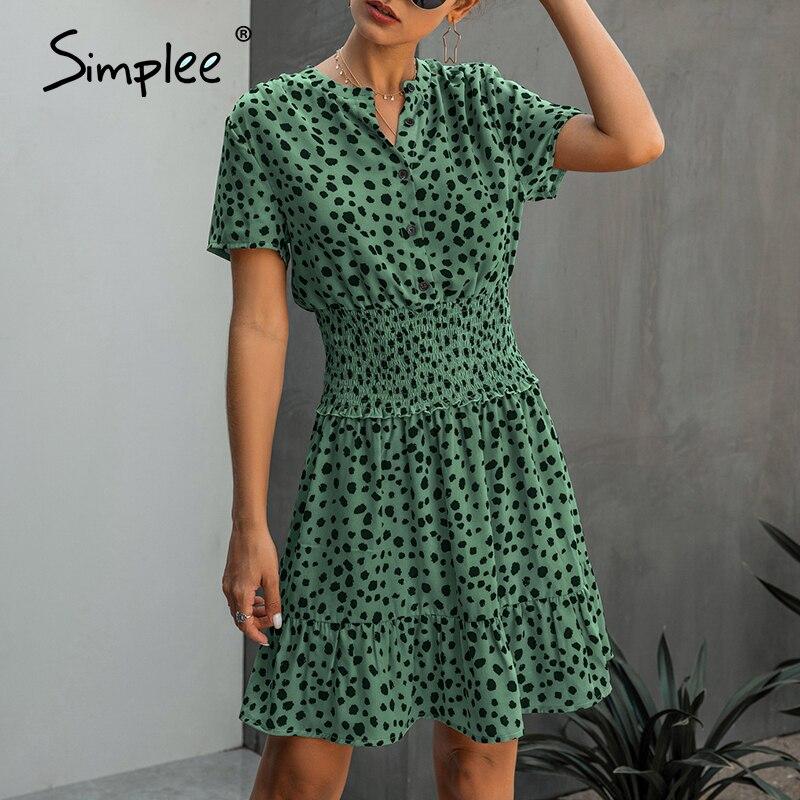 Simplee Women Polka Dot Ruffle Summer Dress Vintage V Neck A Line Female Short Sundress Office Lady Work Daily Midi Dress 2020
