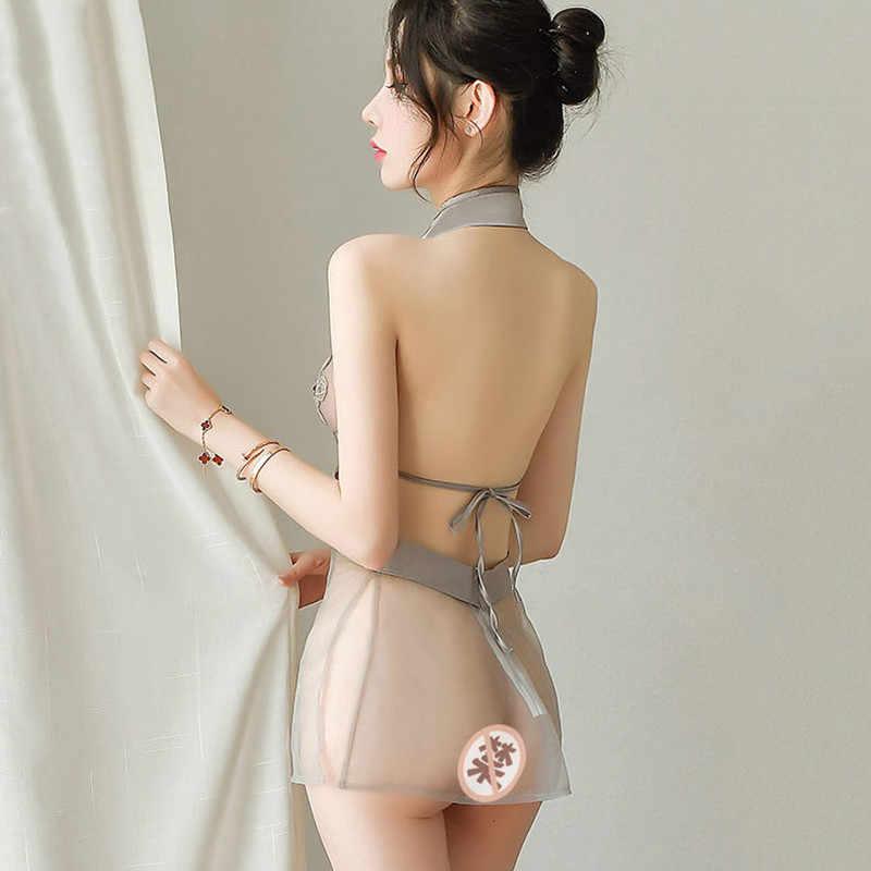 Minivestidos chinos transparentes de malla Jacquard, Mini vestidos Qipao tradicional Cheongsam, lencería picardías, uniformes para fiestas en club nocturno