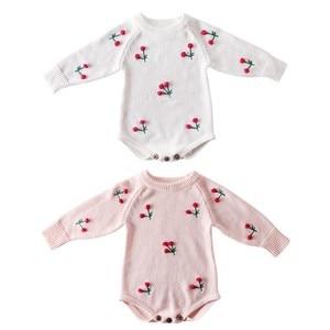 Image 5 - תינוקת Romper סתיו יילוד תינוק Romper ארוך שרוול סרוג תינוק בגדי כותנה דובדבן תינוקות תינוק סרבל ילדה בגדים