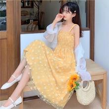 2021 nova daisy mesh sling vestido feminino cintura plissada retro saia longa vestidos de verão para as mulheres coreano vestido bonito