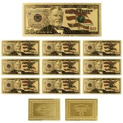 24k золотые банкноты Usd цветные банкноты с Покрытием Поддельные деньги 50 долларов фольга бумага для изготовления денежных знаков деньги колл...