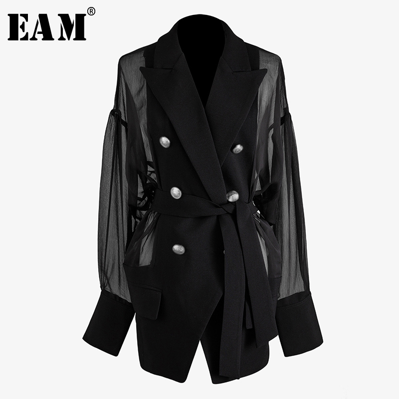[EAM]  Women Black Mesh Stitch Double Breasted Blazer New Lapel Long Sleeve Loose Fit  Jacket Fashion Spring Summer 2020 WM25001