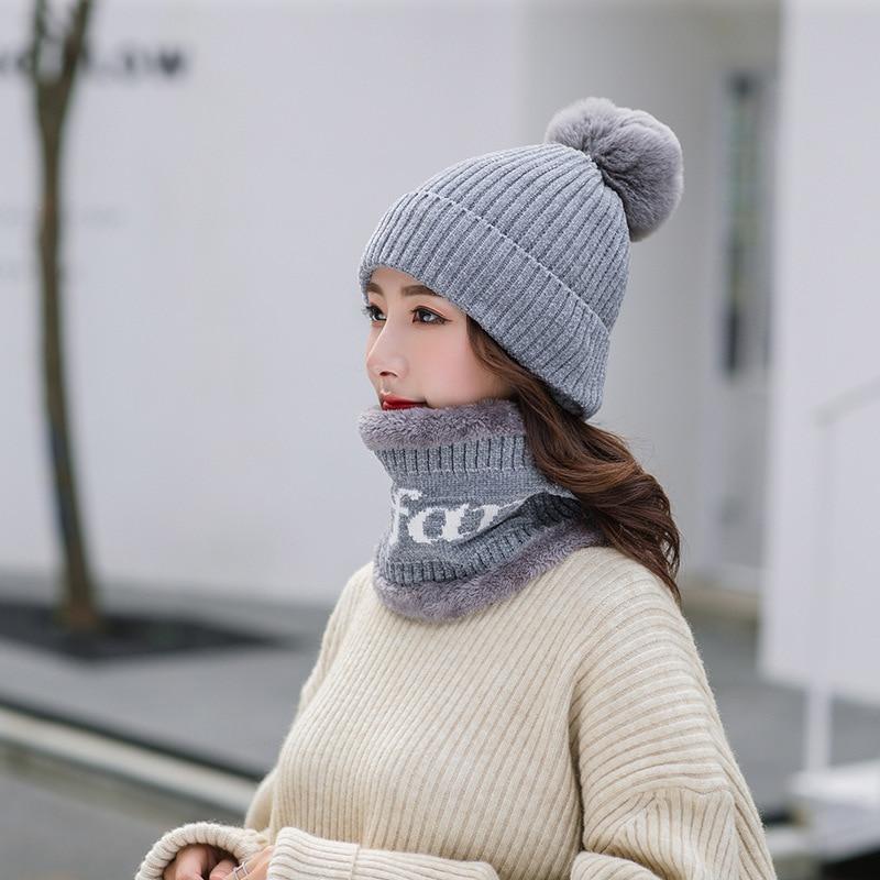 Winter Hat And Ring Scarf Set Two-Piece Women Thicken Winter Warm Set Female Hats Scarves Unisex Beanie Hat Bonnet