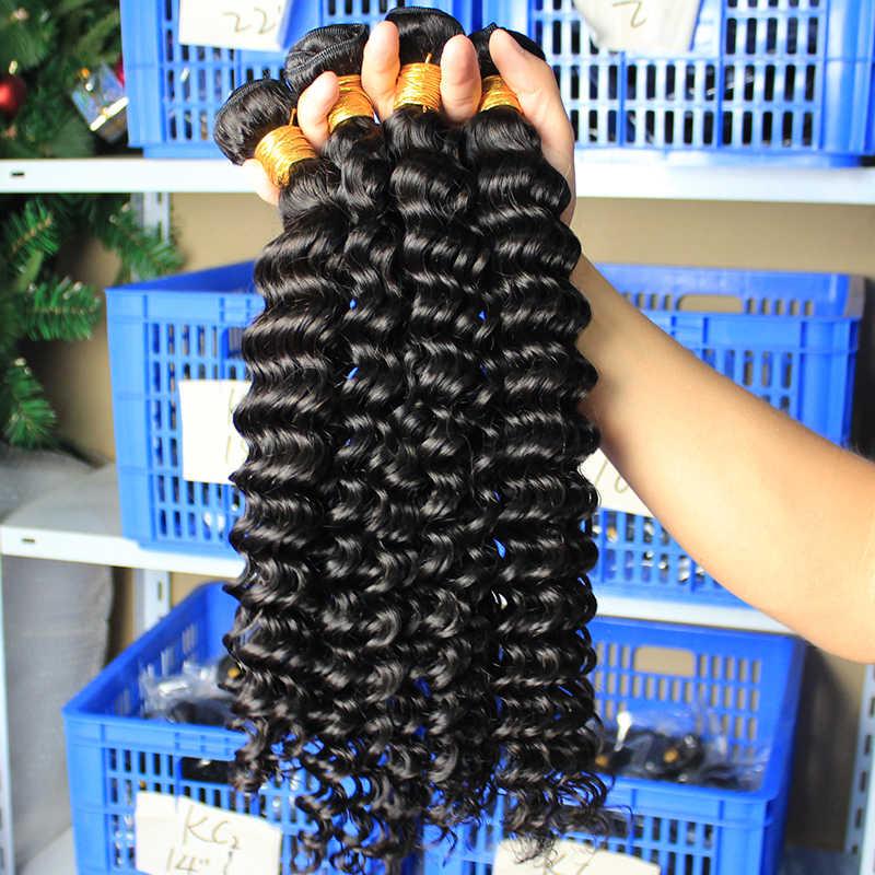 Derin dalga brezilyalı bakire saç örgü demetleri ile kapatma 100% insan saç demeti gevşek 1/3/4 pcs ham Dolago saç kıvırcık ürünleri
