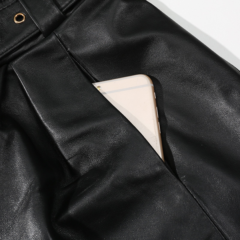 2020 Autumn Genuine Leather Women High Waist Loose Plus Size Casual Sexy Vintage Black Shorts Femme Belt Office Lady