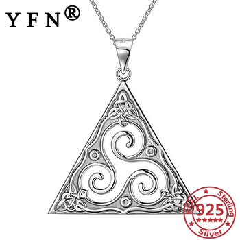 YFN 925 Sterling Silver Wave Pendant Necklace Vintage Triangle Silver 925 Man's Jewelry Valentine's Day Gift Woman Silver Chains