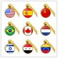 Sowjetunion, Brasilien, Kanada, Niederlande, Israel, Syrien, Venezuela, Vereinigten Staaten, spanien National Flagge Glas Cabochon Anhänger Halskette