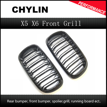 1 Pair New 2014 + X5 X6 F15 F16 M Sport design abs material kidney car front grill for BMW xdrive vehicle front bumper grille image