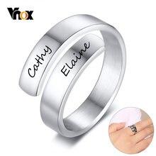Vnox-anillo ajustable de acero inoxidable para mujer, sortija personalizada, regalo de cumpleaños, graduación, creativo, personalizado