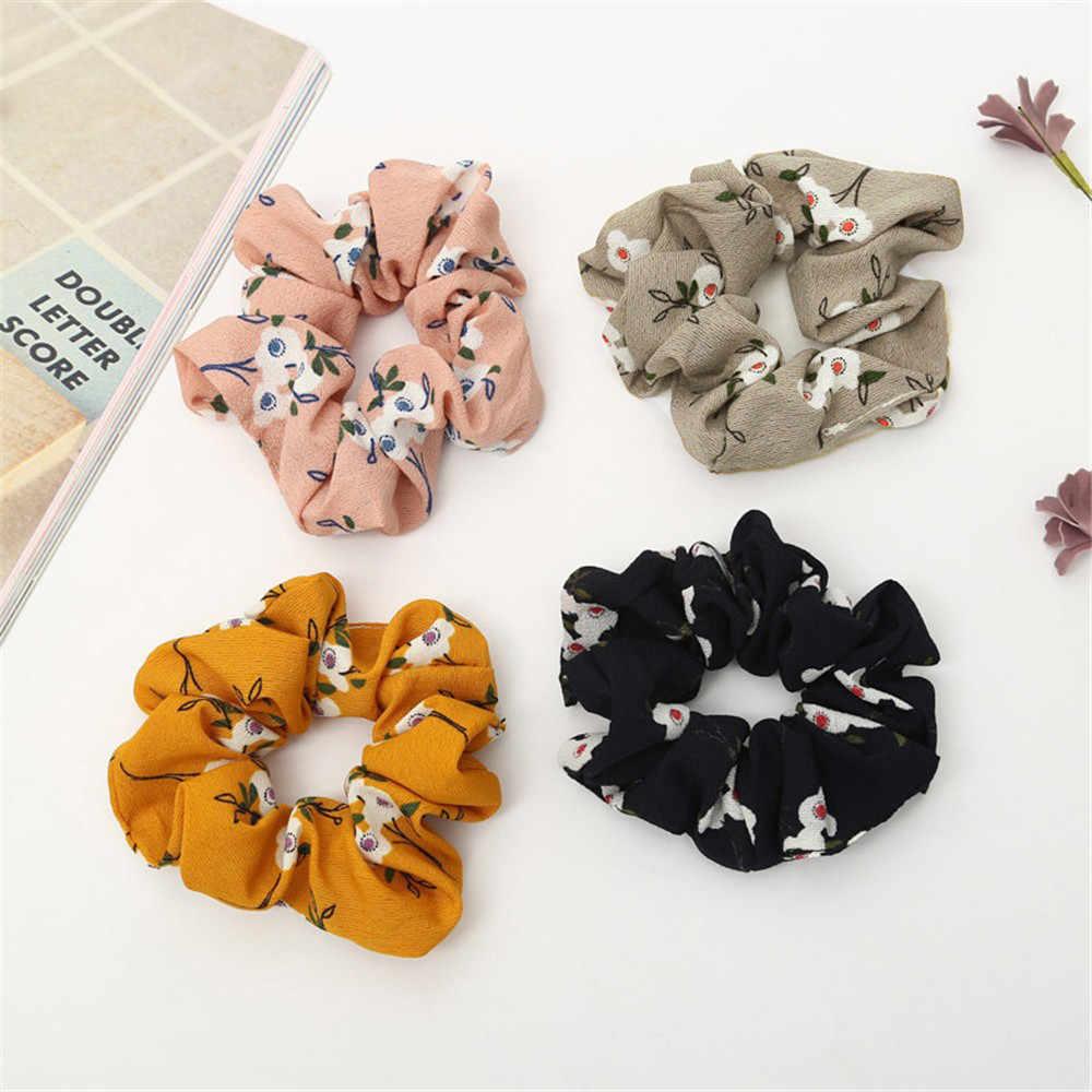 Flower Print Cloth Scrunchie Women Girls Elastic Hair Rubber Band Accessories For Women Tie Hair Ring Rope Headdress Scrunchie