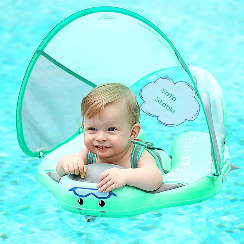Kids Baby Swimming Rings With Awning Solid No Inflatable Safety Accessories For Baby Swimming Ring Floating Floats Swim Trainer