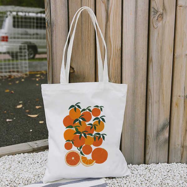Oranje Oogst Canvas Draagtas Voor Vrouwen Doek Cartoon Witte Schoudertas Nieuwe Leuke Boodschappentassen Vrouwelijke Partij Handtas