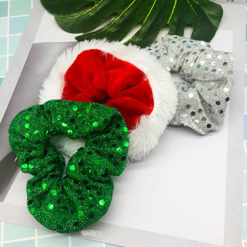 Boże narodzenie Scrunchies dla kobiet dziewczynki elastyczne włosy gumowe modne ozdoby świąteczne gumka do włosów aksamitna kucyk Holder pałąk