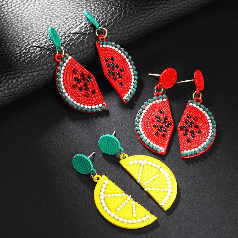 Einfache Persönlichkeit Design Obst Ohrringe Damen Zarte Karotte Zitrone Wassermelone Ohrringe Klassische Farbe Legierung Серьги Schmuck