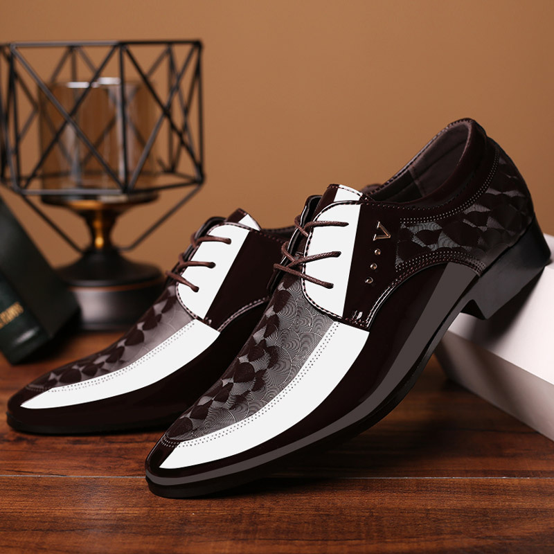 2020 Autumn New Men's Business Leather Shoes Pointed Toe Lace-up Leisure Dress Shoes Man Flat Wedding Party Leather Shoes