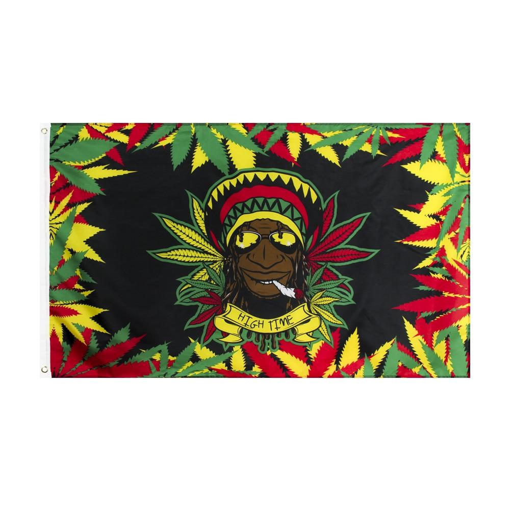 Smoking Leaf Rasta Reggae Flag 150* 90cm 3ft x 5ft Custom Banner Metal Holes Grommets Music Rock