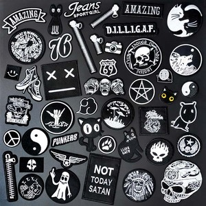 black White Expression Cloth Mend Decorate Iron On Patch Clothes Apparel Sewing Decoration Applique Sew On Patches For Clothing