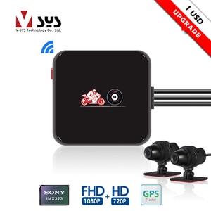 Моторегистратор VSYS M6L P6L, с WiFi, видеорегистратор для мотоцикла, камера на шлем, водонепроницаемая, Full HD 1080P+720P, с обзором спереди и сзади