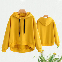autumn 2019 yellow sweatshirt women drop shoulder long sleeve knitted hoodies pullover pocket casual sweatshirts