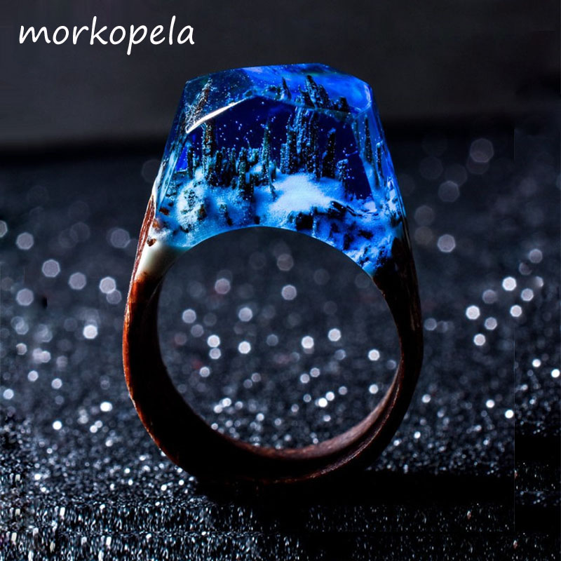 Morkopela Handmade Wood Resin Stone Ring With Magnificent Fanstasy Secret Magic Landscape Wooden Rings Boho Women Men Jewelry image