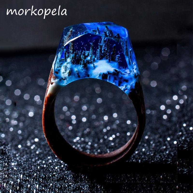 Morkopela Handmade Wood Resin Stone Ring With Magnificent Fanstasy Secret Magic Landscape Wooden Rings Boho Women Men Jewelry