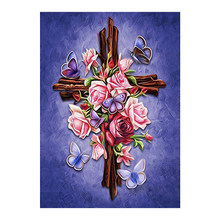 religious cross Moge Diamond Painting Full Round floral rose New DIY sticking drill stitch 5D embroidery home decorative
