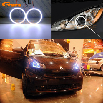 цена на Excellent Ultra bright COB led angel eyes kit halo rings For Smart Fortwo W451 2007 2008 2009 2010 2011 2012 2013 2014