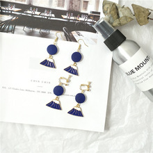 Fashion popular long blue earrings fun creative eardrop earring stud earrings adorn article the new european and american fashion earrings contracted dazzle colour hollow out long wings ms popular earrings adorn article