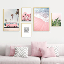 Abstract Posters And Prints Pink Flowers Green Plants Beach Poster Print Landscape Canvas Painting Nordic Decoration Home