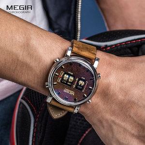Image 2 - MEGIR 2019 Neue Top Band Uhren Männer Military Sport Braun Leder Quarz Armbanduhr Luxus Trommel Roller relogio masculino 2137