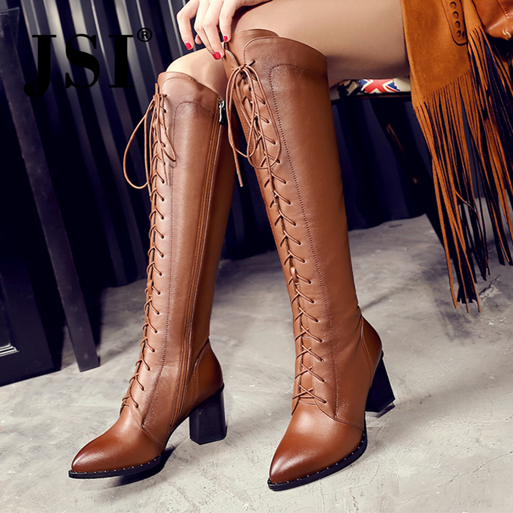 JSI Fashion Knee High Lace-Up Boots Women Thigh High Sexy Woman Shoes Genuine Leather Pointed Toe Thin Heels Ladies boots JO273