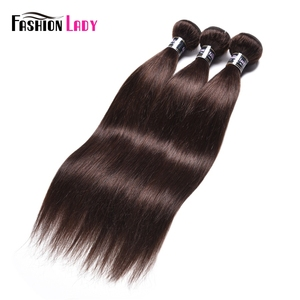 Image 1 - אופנה ליידי מראש בצבע מלזי ישר שיער חבילות חום כהה צבע #2 שיער טבעי הארכת 1/3/4 צרור לחפיסה שאינו רמי