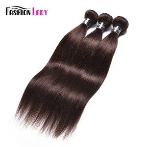 Image 1 - Fashion Lady wstępnie w kolorze malezyjskie proste włosy wiązek ciemny brąz kolor #2 człowieka do przedłużania włosów 1/3/4 Bundle w opakowaniu nie remy