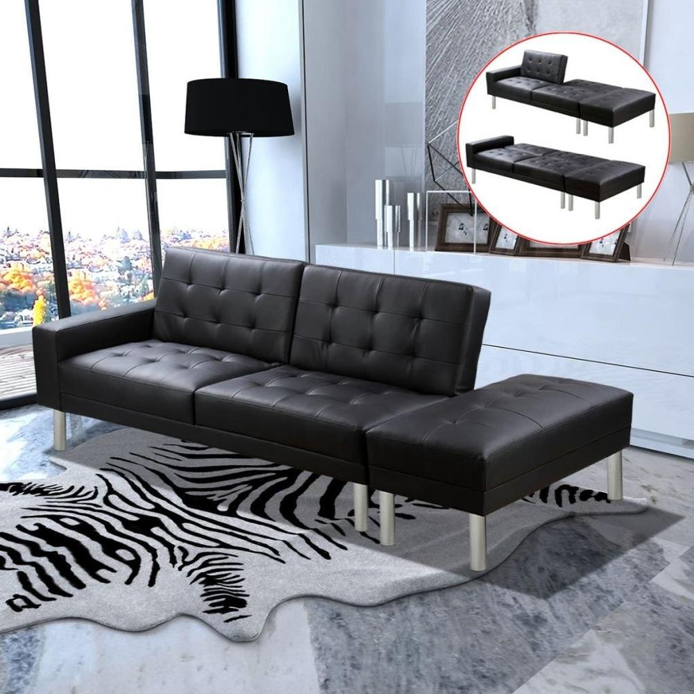 [ES Warehouse] Black artificial leather sofa bed Free Shipping Spain Drop Shipping image