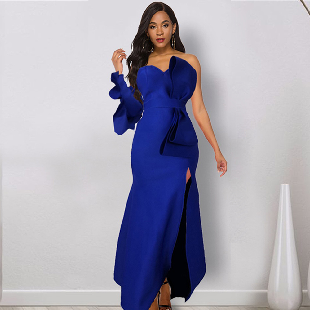 Women Maxi Blue Party Dress Sexy Big Bowtie Event Occation Flounce Elegant Backless Celebrate Dinner Party Evening Bodycon Robes