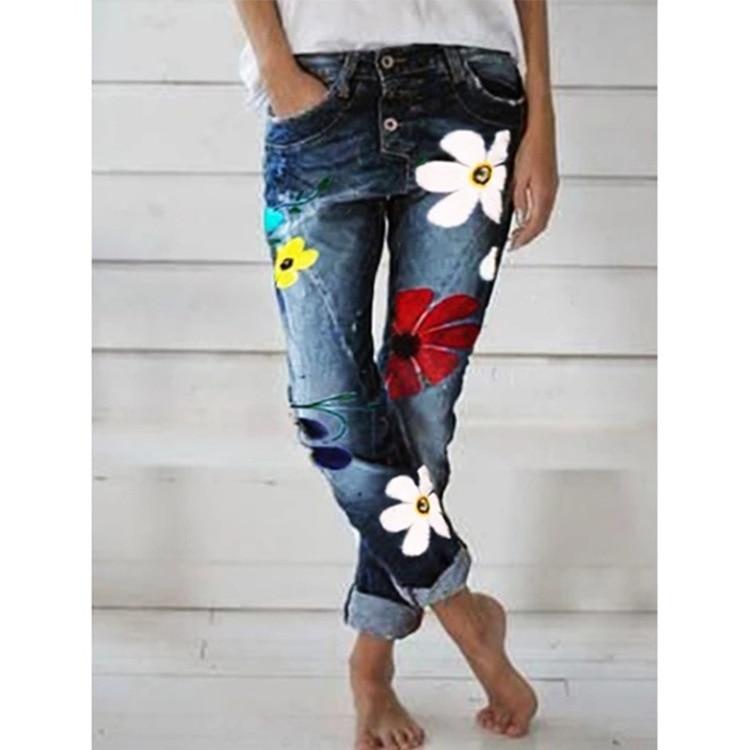 WEPBEL Hot Sell Women Mid Waist Juans Long Pants  Boyfriend Jeans For Women Fashion Autumn Printing Button Denim