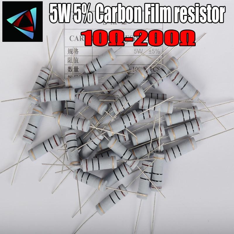 5 шт. 5 Вт 5% карбоновый пленочный резистор 1R ~ 1M 10 12 15 18 20 22 24 27 30 33 36 39 43 47 51 56 62 68 75 82 91 100 120 150 180 200 Ом