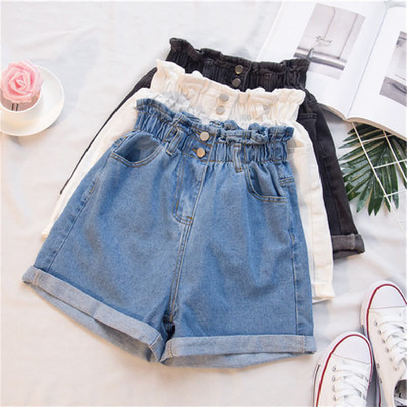 Closeout Deals┐High-Waisted Shorts Harem Elastic Ruffle Black White Large-Size Summer 5xl Women's à