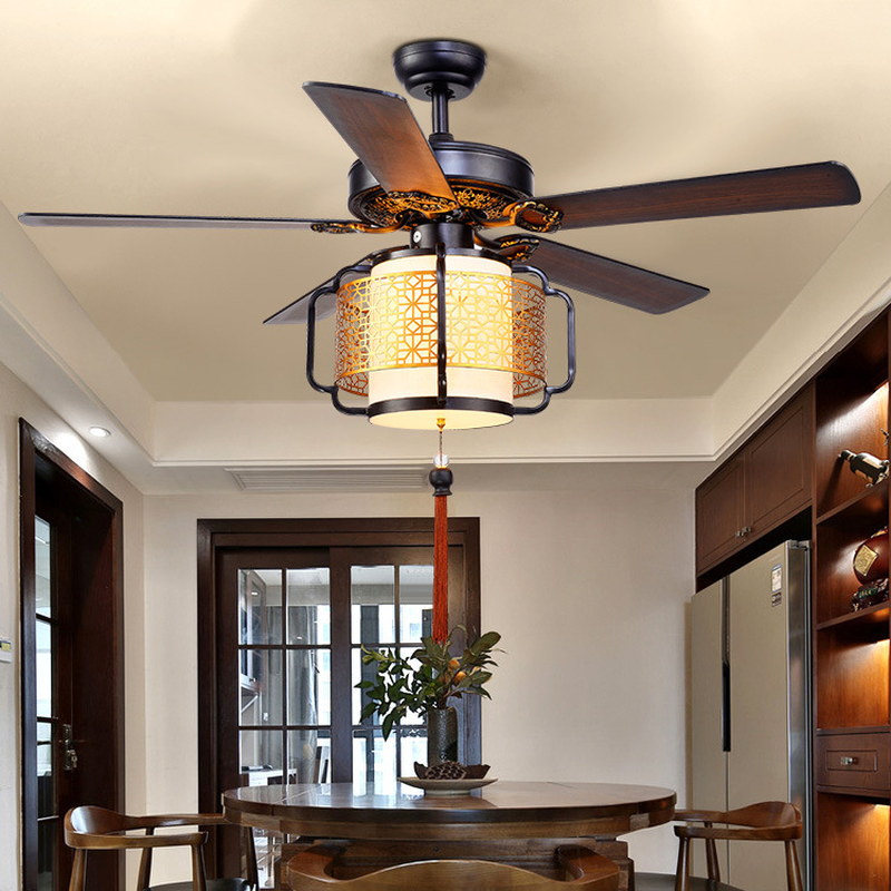 LED Ristorante Luce Ventilatore A Soffitto Soggiorno Sala da Tè Club House Lanterna Luce Ventilatore A Soffitto Ventilatore A Soffitto Led con la Luce - 3