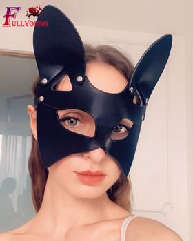 Maska porno fetysz maska na twarz bicz BDSM Bondage ograniczenia PU skóra kot Halloween Roleplay seks-zabawka dla mężczyzn kobiety Cosplay gry tanie i dobre opinie fullyoung Masks CN (pochodzenie) WOMEN kostiumy Skóra syntetyczna Black Sexy Mask Bdsm Fetish Mask Cosplay Half Face Mask